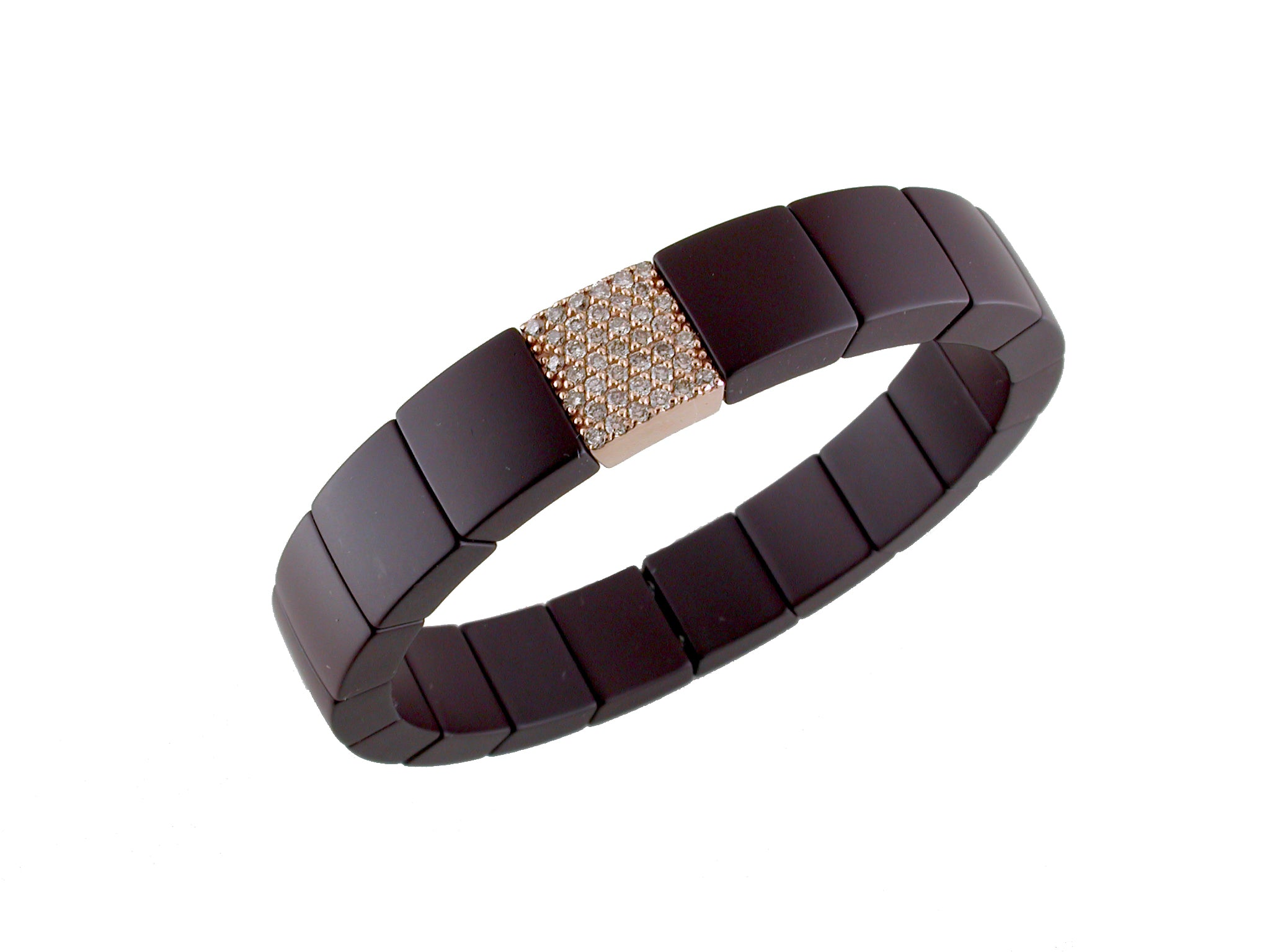 Roberto Demeglio Domino Brown Ceramic Single Row 11mm Wide Bracelet with Champagne Diamonds