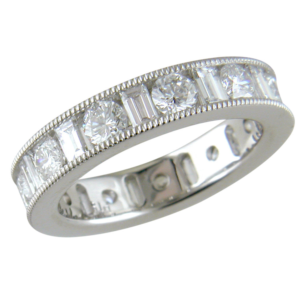 Round Straight Diamond Baguette Channel Set Platinum Ring