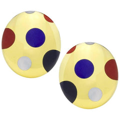 Tiffany & Co. Angela Cummings Polka Dot Hardstone Gold Yellow Gold Clip Earrings Pre-owned
