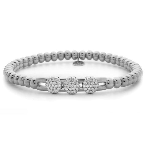 Hulchi Belluni Fidget Bracelet with Three Pave Diamond Moveable Stations White Gold Stretch Stackable 20395/WW