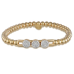 Hulchi Belluni Fidget Bracelet with Three Pave Diamond Moveable Stations Yellow Gold Stretch Stackable 20395/YW