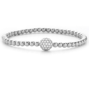 Hulchi Belluni 18K White Gold Stretch Stackable Bracelet with Large Pave Diamond Ball Station
