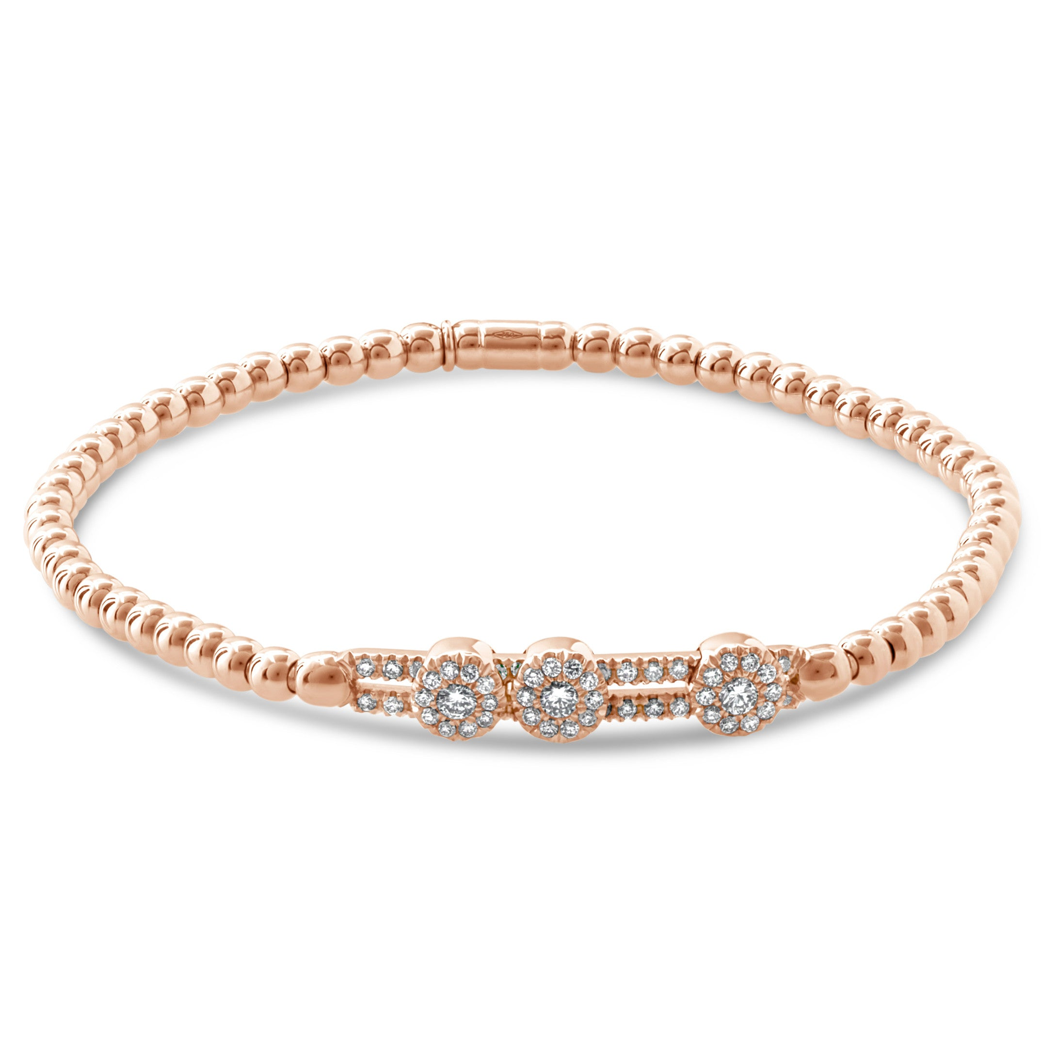 Hulchi Belluni Fidget Bracelet with Three Pave Diamond Moveable Stations Rose Gold Stretch 20352ac-rw