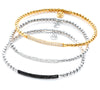 Hulchi Belluni Bracelet with Pave Diamond ID Bar Yellow Gold Stretch Stackable 20344M-YW