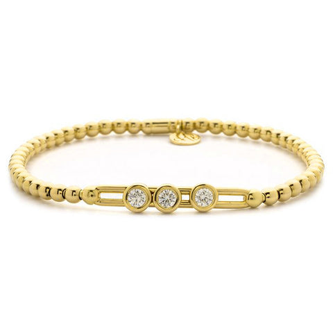 Hulchi Belluni Fidget Bracelet with Three Bezel Diamond Moveable Stations Yellow Gold Stretch Stackable