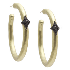 Armenta Crivelli Hoop Earrings in 18K Yellow Gold & Oxidized Silver 33mm 10280