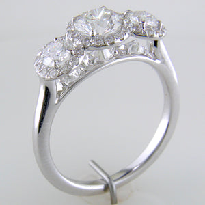 Point of Love Round Diamond Three Stone White Gold Halo Engagement Ring 1 1/2 Carats