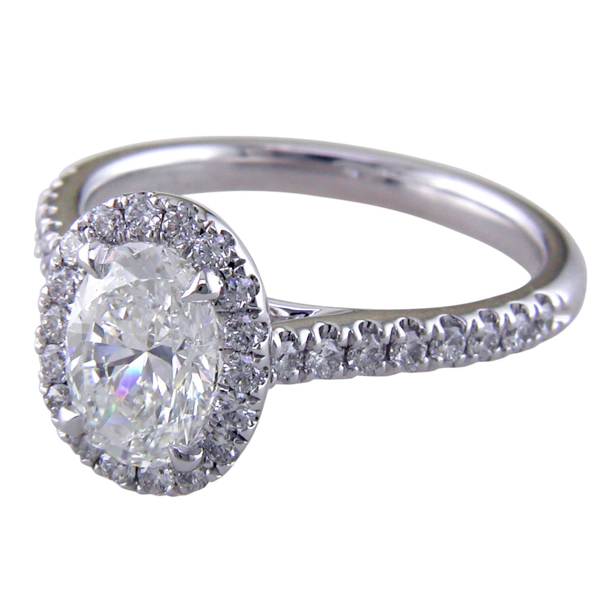 Oval Brilliant 1.30 carat Forevermark Halo Engagement Ring Platinum stamford bridal jewelry