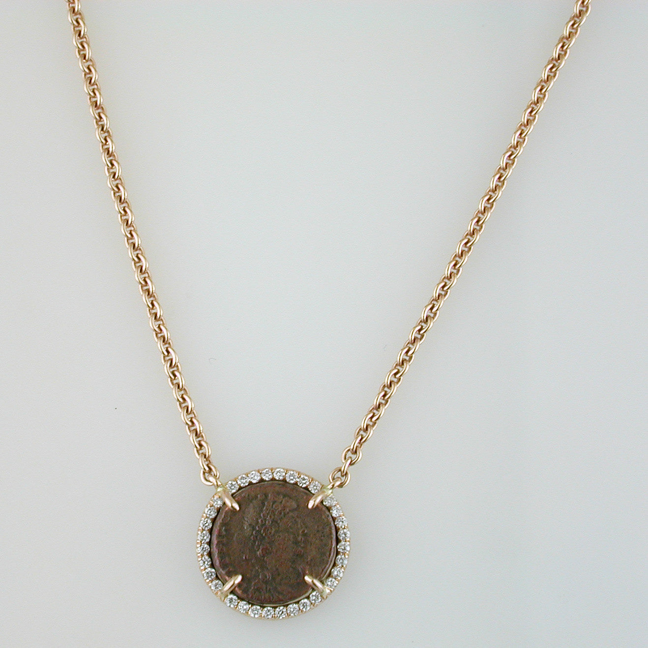 collection product roman gold pendant with steele necklace danielle coin