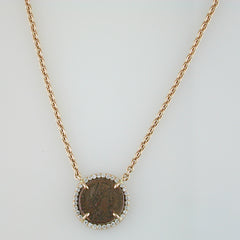 1884 Versilia Original Bronze Roman Coin Teodosio II Period (402-450 A.D.) 18K Rose Gold Pendant with Diamond Halo Necklace 18""