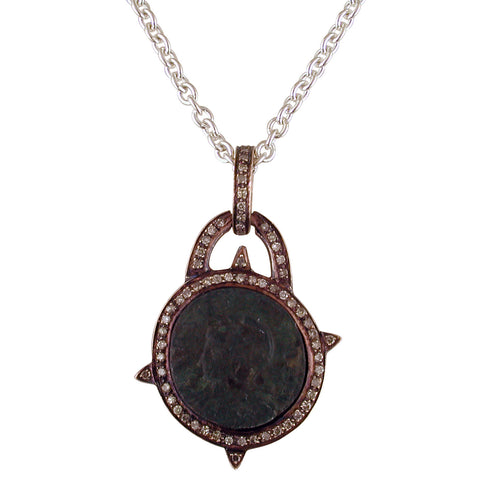 "1884 Versilia ""Constantino I Period 306-337 A.D."" Original Bronze Roman Coin 18K Rose Gold Pendant with Diamond Halo Necklace"