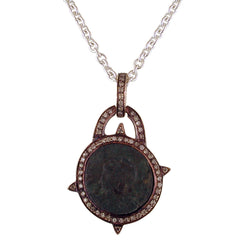 "1884 Versilia ""Constantino I Period 306-337 A.D."" Original Bronze Roman Coin Silver Pendant with Diamond Halo Necklace"