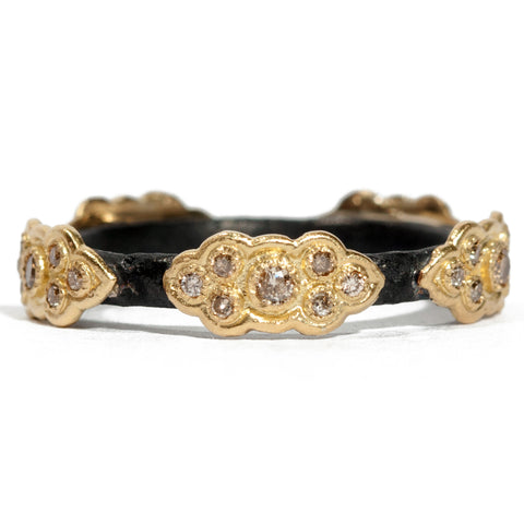 Armenta Old World Sculpted Stackable Scrolls 18K Yellow Gold & Black Silver Ring 05602