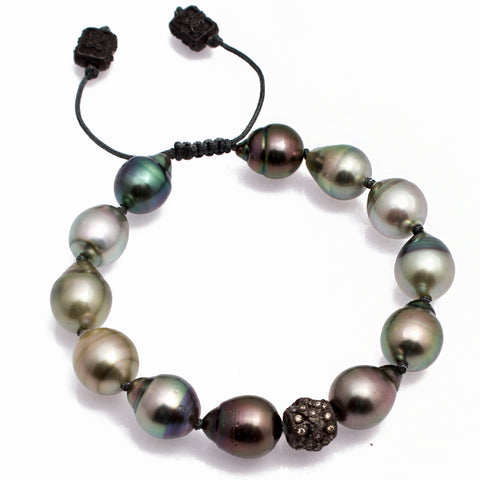 Armenta Midnight Old World Soth Sea Pearl Beaded Pull Bracelet Champagne Diamond Silver 10366