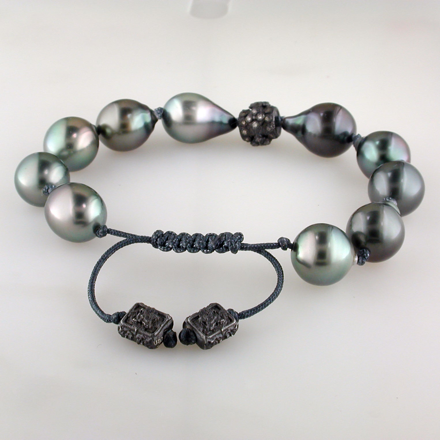 Armenta Midnight Old World South Sea Pearl Beaded Pull Bracelet Champagne Diamond Silver 10366