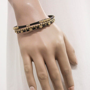 Armenta Eternity Huggie & Crivelli Bracelet with Black Sapphires & Champagne Diamond Silver 12475