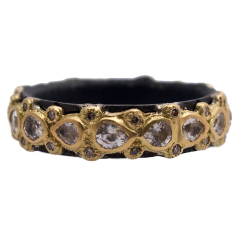Armenta Old World Lacy Stackable 18K Yellow Gold & Black Silver Ring Pear Shape Sapphires & Champagne Diamonds