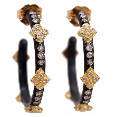 Armenta Old World Huggy Hoop Small Cravelli Crosses 22mm Hoop Earrings with Diamonds 25950