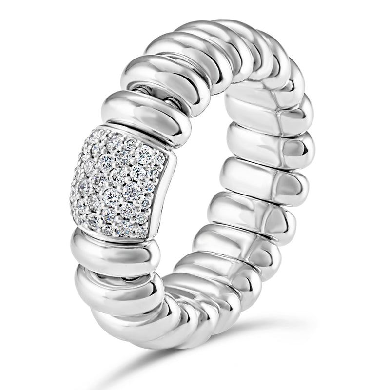 Hulchi Belluni Ring with Pave Diamond Bar White Gold Stretch Stackable 20177-WW