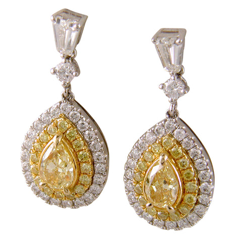 Fancy Yellow Pear Shaped Diamond & Bullet Diamond Dangle Earrings 18K Gold