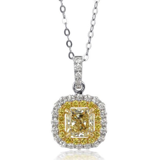 Fancy Light Yellow Square 1.04 carat Diamond Pendant Necklace 18K Gold