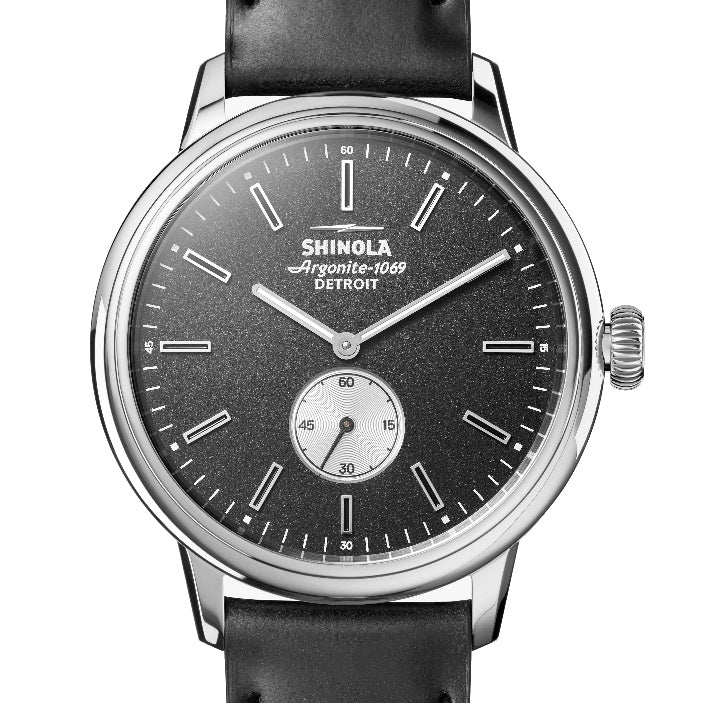 Shinola 42MM Bedrock Black Dial and Leather Watch S012005890