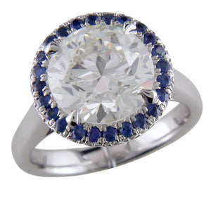 Round Center 3.70 Carat Diamond & Sapphire Halo Platinum Engagement or Cocktail Ring