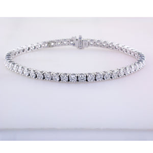Single Row Prong Set Round Diamond Tennis Bracelet 5.24 Carat 18K White Gold