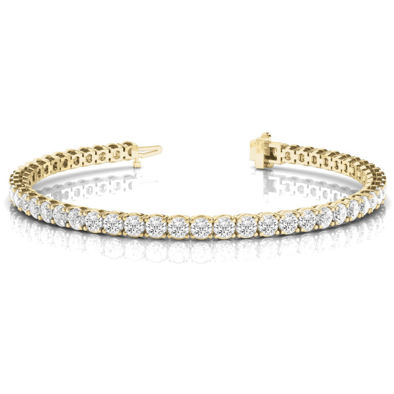 Single Row Prong Set Round Diamond Tennis Bracelet 5.00 Carat 18K Yellow Gold