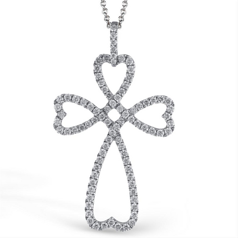 Simon G. White Gold Diamond Cross & Heart Modern Design Pendant Necklace LP4230
