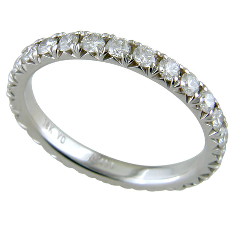 Diamond Eternity French Cut Wedding Band Anniversary Ring 18K White Gold 1 Carat