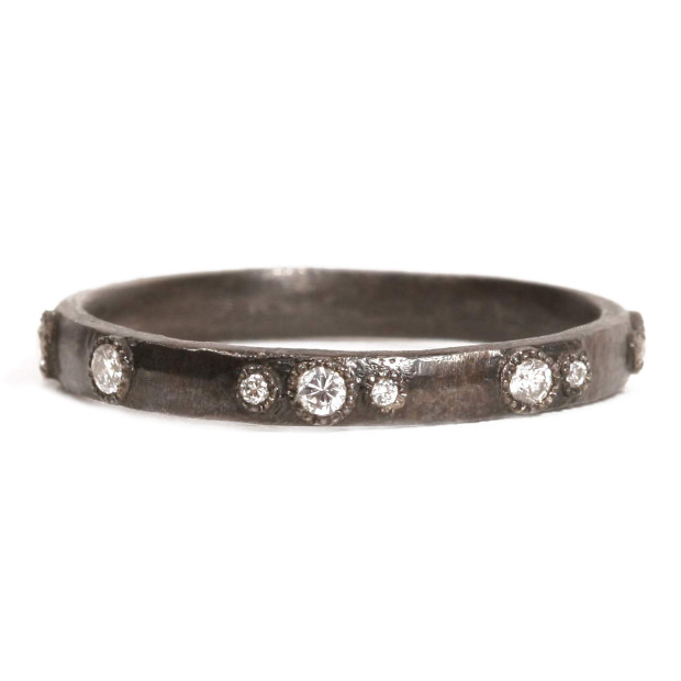 Armenta Midnight Scattered Diamond Stackable Ring Oxidized Silver