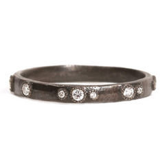 Armenta Midnight Scattered Diamond Stackable Ring Oxidized Sterling Silver