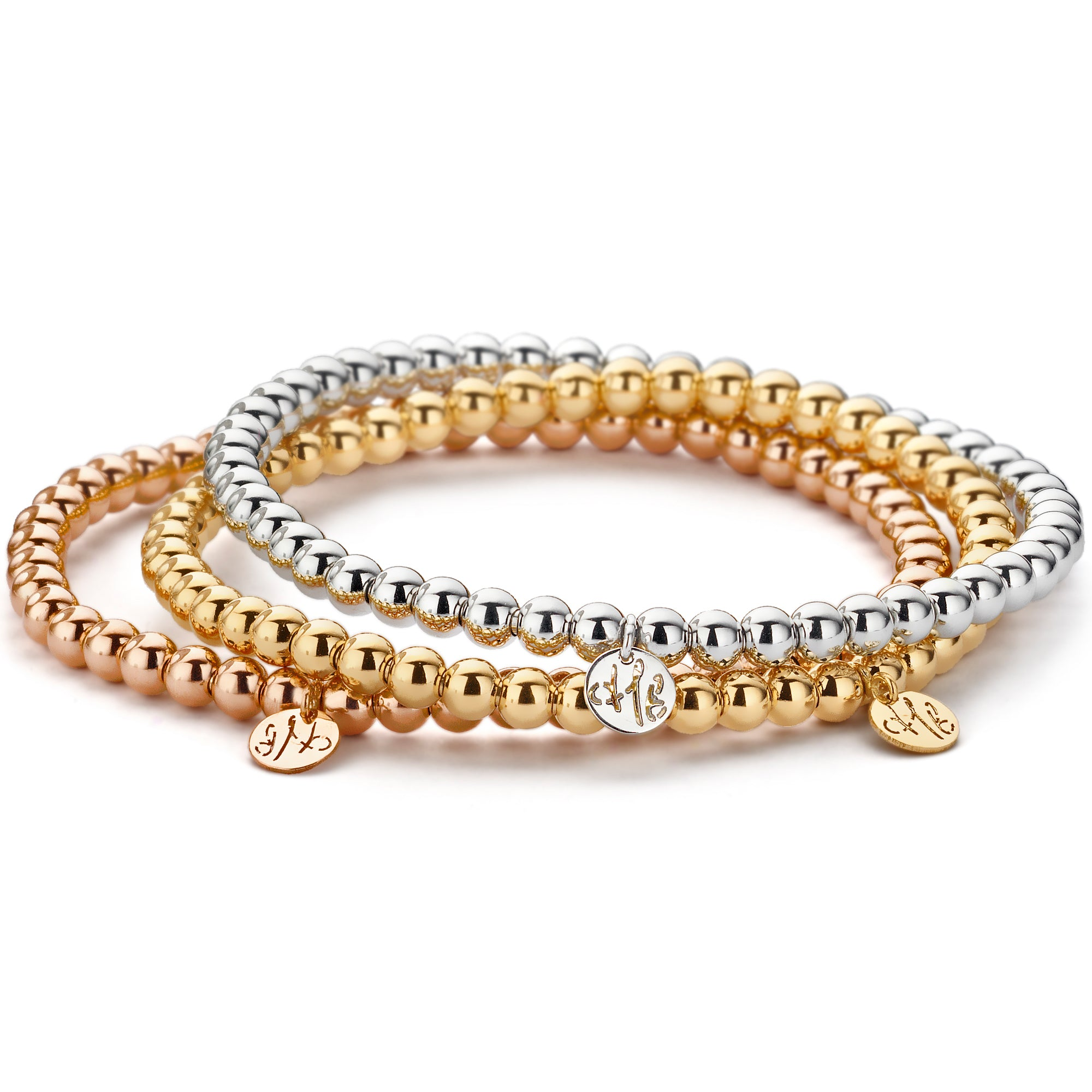 Hulchi Belluni Plain 18K Rose Gold Stretch Stackable Bracelet 20341M-R
