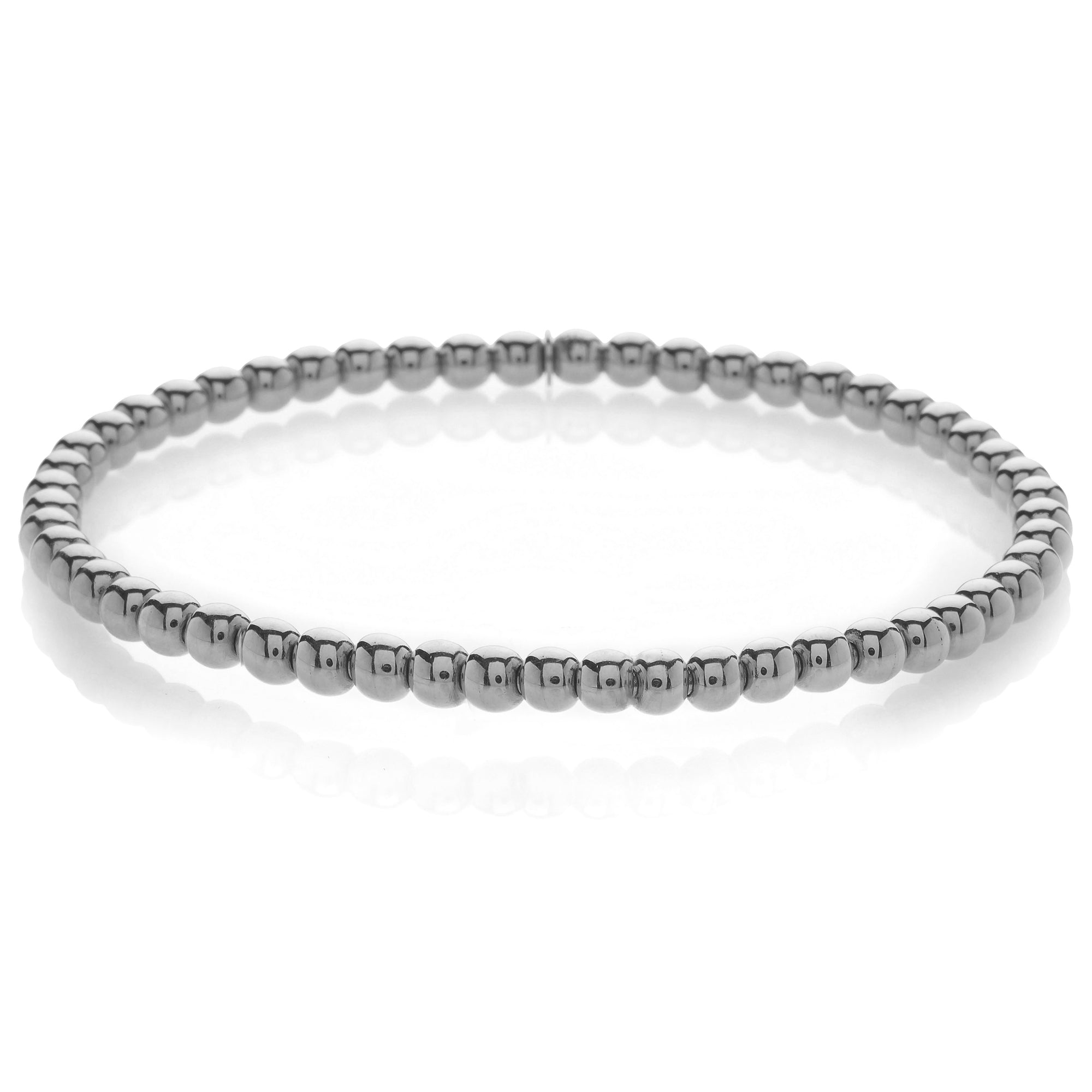 Hulchi Belluni Plain 18K White Gold Stretch Stackable Bracelet 20341M-W
