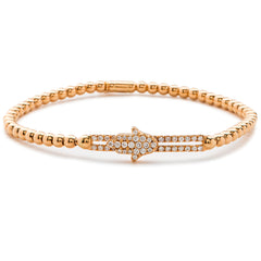 Hulchi Belluni Fidget Bracelet with Hamsa Pave Diamond Moveable Station Rose Gold Stretch Stackable