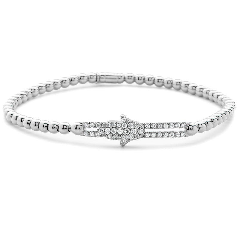 Hulchi Belluni Bracelet with Hamsa Pave Diamond Moveable Station White Gold Stretch Stackable