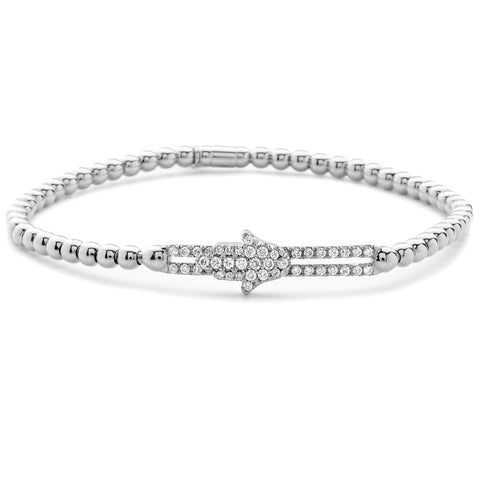 Hulchi Belluni Fidget Bracelet with Hamsa Pave Diamond Moveable Station White Gold Stretch Stackable
