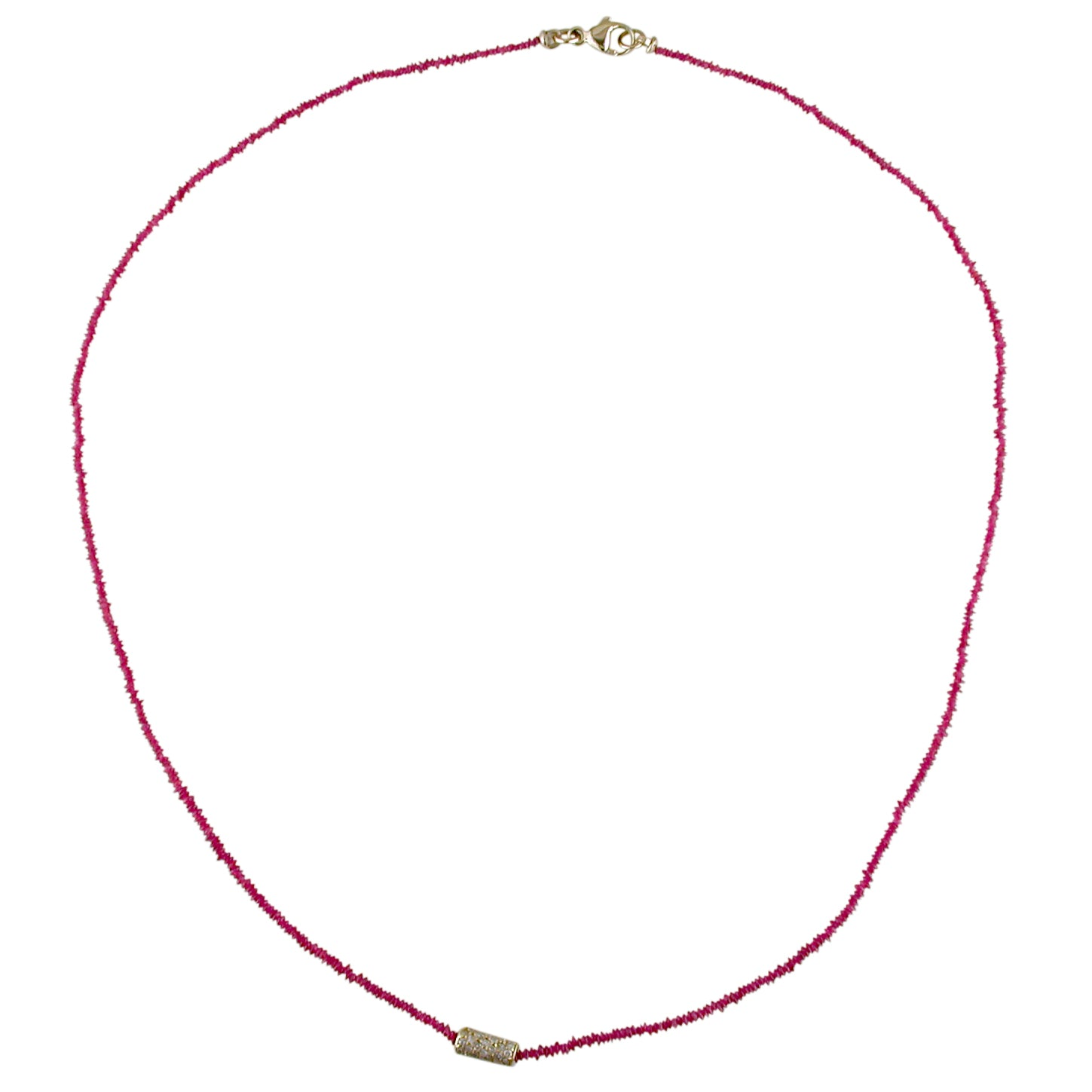 Dana Kellin Fine Ruby Bead Necklace with Diamond Section, 14K Yellow Gold 16""