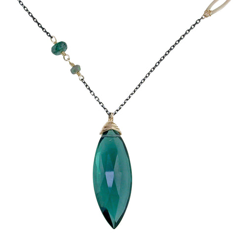 Dana Kellin Fine Green Kyanite Elongated Drop Yellow Gold Spun Wire Pendant Necklace with Opals, Quartz, Diamonds