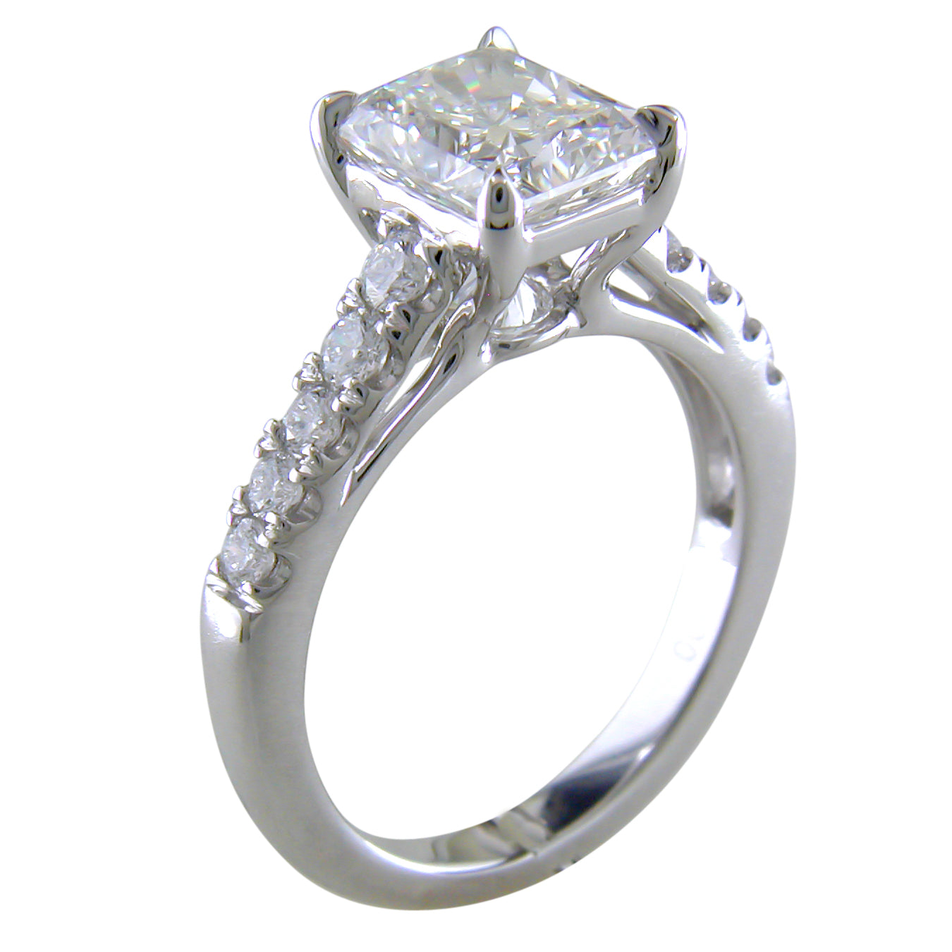Point of Love Radiant Brilliant 1.75 Carat Diamond Shank Platinum Engagement Ring