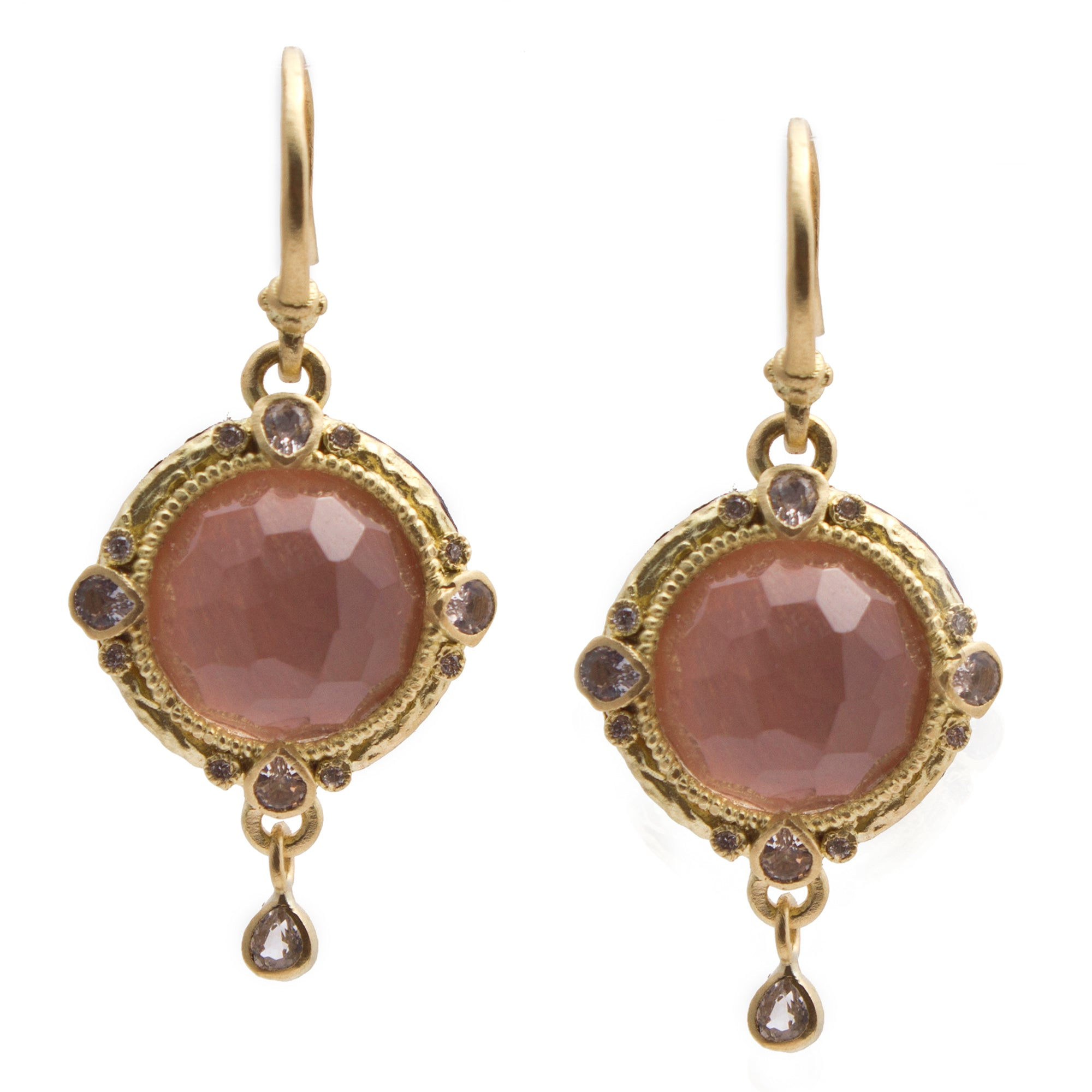 Armenta Round Pink Golden Sunstone & Diamond Yellow Gold Medallion Dangle Earrings