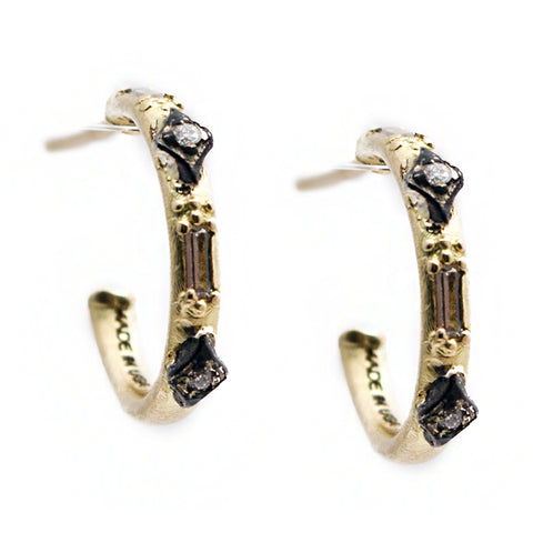 Armenta Old World Huggy Hoop Mini Earrings with Diamonds in Sterling Silver & 18K Yellow Gold 13531