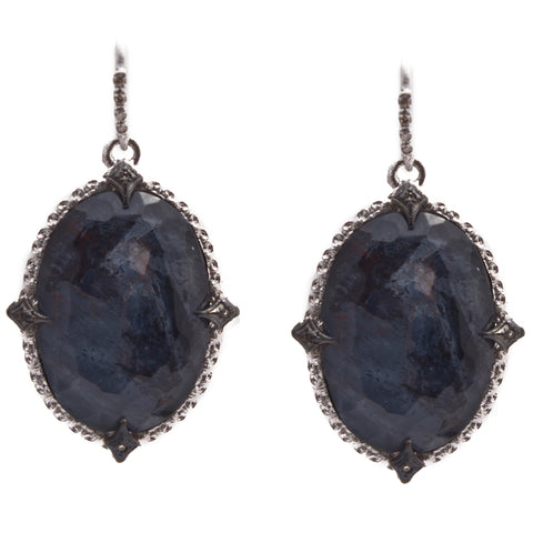 Armenta Blue Pietersite & White Quartz Oval New World Oxidized Silver Champagne Large Earrings 13396