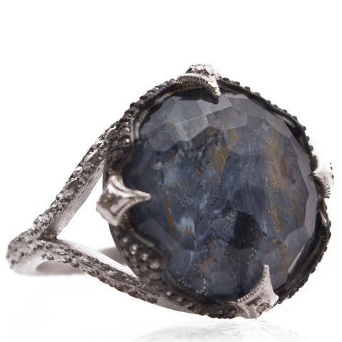 Armenta Blue Pietersite & White Quartz Round New World Oxidized Silver Diamond Ring 13550