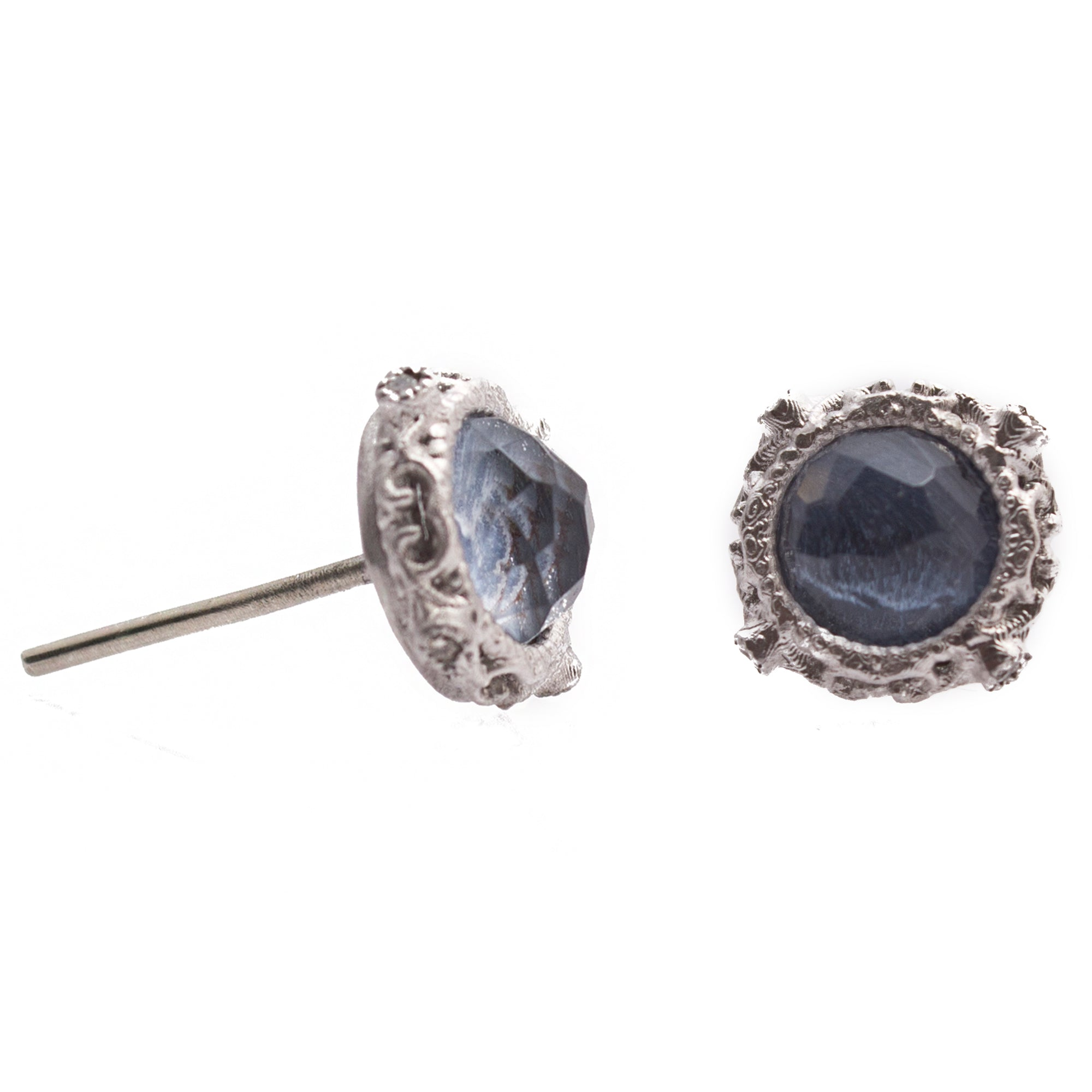oval armenta white oxidized stud products pietersite new quartz world blue silver earrings
