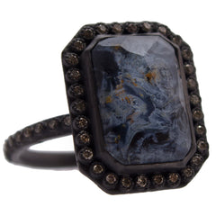 Armenta Blue Pietersite & White Quartz Rectangular New World Oxidized Silver Diamond Ring 13719