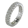 Double Staggered Row Diamond Eternity Band Ring 14K White Gold 1.50 carats