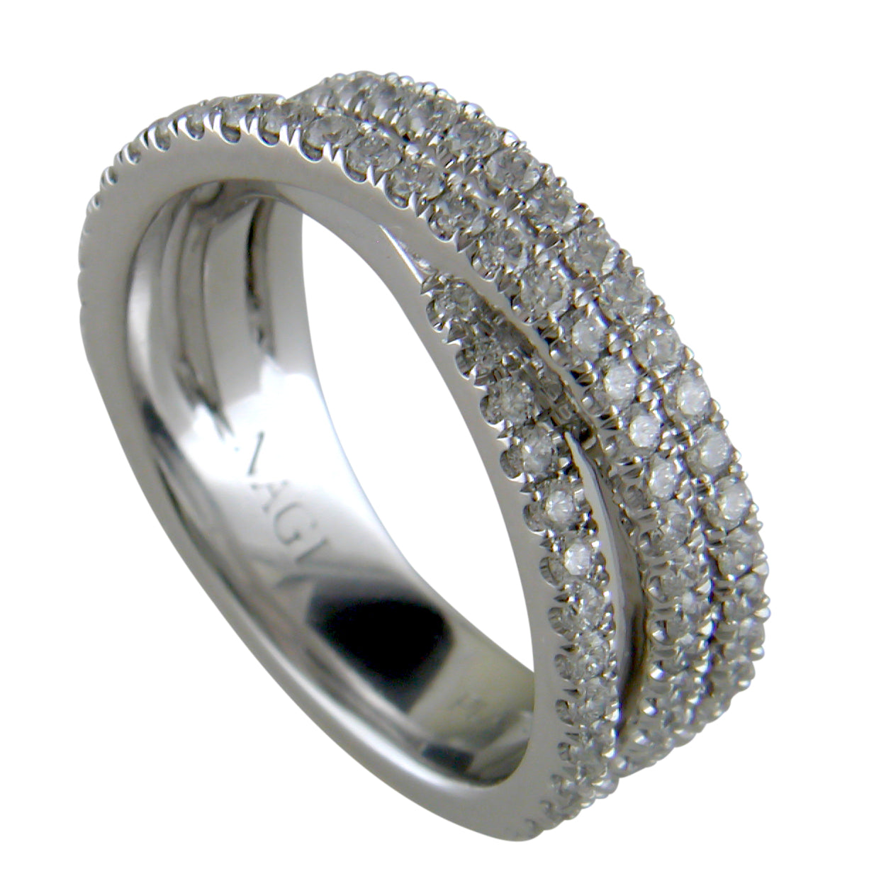 Diamond Crossover Band Ring Three Offset Rows in Platinum 1 Carat