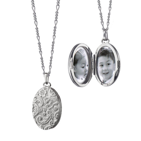 "Monica Rich Kosann Floral Oval Locket in Silver Sterling Silver 1"" oval locket necklace for two photos floral pattern"